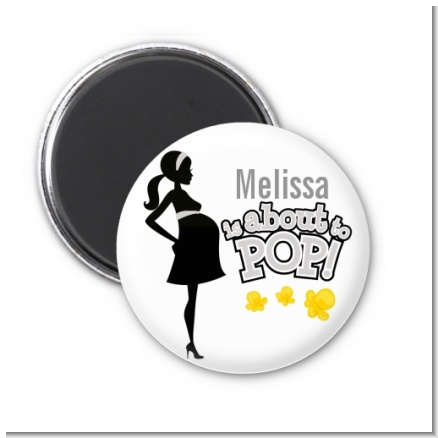 About To Pop Mommy Grey - Personalized Baby Shower Magnet Favors