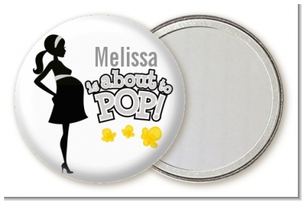 About To Pop Mommy Grey - Personalized Baby Shower Pocket Mirror Favors