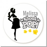 About To Pop Mommy Grey - Round Personalized Baby Shower Sticker Labels