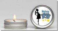About To Pop Mommy Navy Blue - Baby Shower Candle Favors