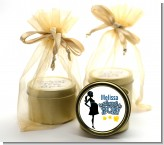 About To Pop Mommy Navy Blue - Baby Shower Gold Tin Candle Favors