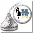 About To Pop Mommy Navy Blue - Hershey Kiss Baby Shower Sticker Labels thumbnail