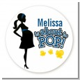 About To Pop Mommy Navy Blue - Round Personalized Baby Shower Sticker Labels thumbnail