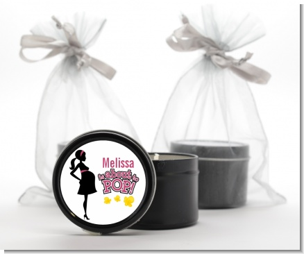 About to Pop Mommy Pink - Baby Shower Black Candle Tin Favors