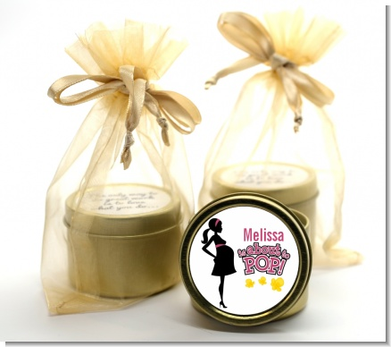 About to Pop Mommy Pink - Baby Shower Gold Tin Candle Favors