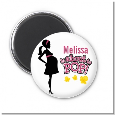 About to Pop Mommy Pink - Personalized Baby Shower Magnet Favors