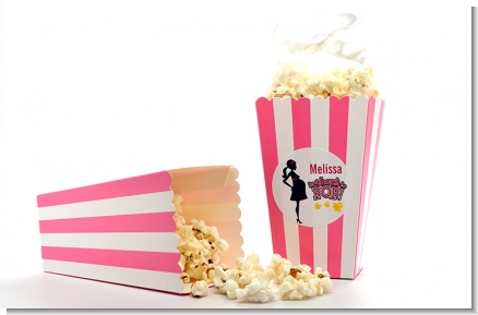 About to Pop Mommy Pink - Personalized Baby Shower Popcorn Boxes - Set of 12