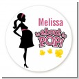About to Pop Mommy Pink - Round Personalized Baby Shower Sticker Labels thumbnail