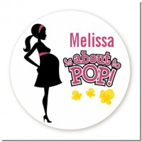About to Pop Mommy Pink - Round Personalized Baby Shower Sticker Labels