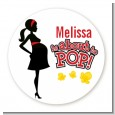 About To Pop Mommy Red - Round Personalized Baby Shower Sticker Labels thumbnail