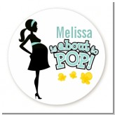 About To Pop Mommy - Round Personalized Baby Shower Sticker Labels