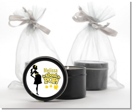 About to Pop Mommy Yellow - Baby Shower Black Candle Tin Favors