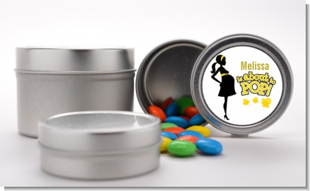 About to Pop Mommy Yellow - Custom Baby Shower Favor Tins