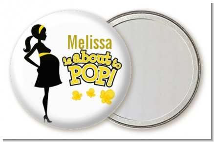 About to Pop Mommy Yellow - Personalized Baby Shower Pocket Mirror Favors