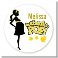 About to Pop Mommy Yellow - Round Personalized Baby Shower Sticker Labels thumbnail