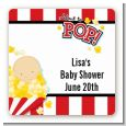 About To Pop - Square Personalized Baby Shower Sticker Labels thumbnail