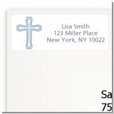 Cross Blue - Baptism / Christening Return Address Labels