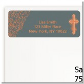 Cross Grey & Orange - Baptism / Christening Return Address Labels