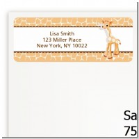 Giraffe Brown - Baby Shower Return Address Labels