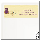Retro Owl - Birthday Party Return Address Labels
