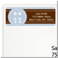 Baby Feet Pitter Patter Blue - Baby Shower Return Address Labels