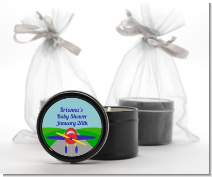 Airplane - Baby Shower Black Candle Tin Favors