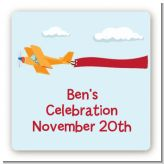 Airplane in the Clouds - Square Personalized Birthday Party Sticker Labels