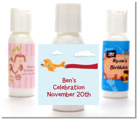 Airplane in the Clouds - Personalized Birthday Party Lotion Favors