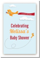 Airplane in the Clouds - Custom Large Rectangle Baby Shower Sticker/Labels