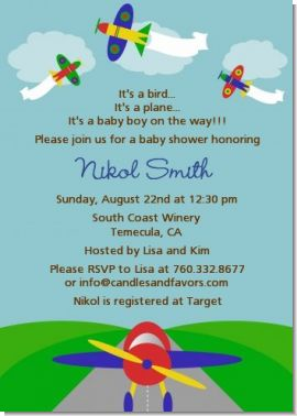 Airplane - Baby Shower Invitations