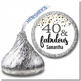 40 and Fabulous Glitter - Hershey Kiss Birthday Party Sticker Labels