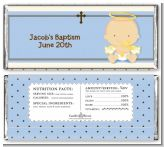 Angel Baby Boy Caucasian - Personalized Baptism / Christening Candy Bar Wrappers