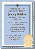Angel Baby Boy Caucasian - Baptism / Christening Invitations