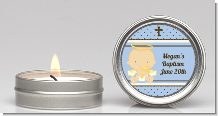 Angel Baby Boy Caucasian - Baptism / Christening Candle Favors