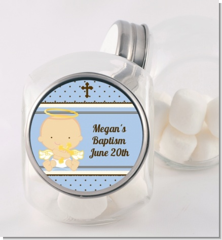 Angel Baby Boy Caucasian - Personalized Baptism / Christening Candy Jar