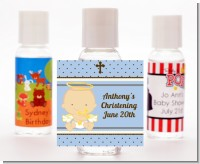Angel Baby Boy Caucasian - Personalized Baptism / Christening Hand Sanitizers Favors