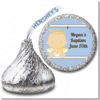 Angel Baby Boy Caucasian - Hershey Kiss Baptism / Christening Sticker Labels