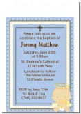 Angel Baby Boy Caucasian - Baptism / Christening Petite Invitations