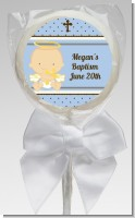 Angel Baby Boy Caucasian - Personalized Baptism / Christening Lollipop Favors