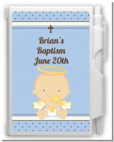 Angel Baby Boy Caucasian - Baptism / Christening Personalized Notebook Favor