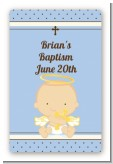 Angel Baby Boy Caucasian - Custom Large Rectangle Baptism / Christening Sticker/Labels