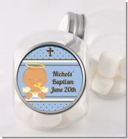 Angel Baby Boy Hispanic - Personalized Baptism / Christening Candy Jar