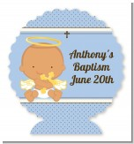 Angel Baby Boy Hispanic - Personalized Baptism / Christening Centerpiece Stand