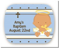Angel Baby Boy Hispanic - Personalized Baptism / Christening Rounded Corner Stickers
