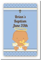 Angel Baby Boy Hispanic - Custom Large Rectangle Baptism / Christening Sticker/Labels