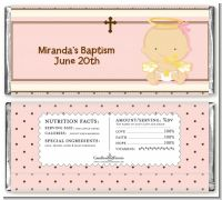 Angel Baby Girl Caucasian - Personalized Baptism / Christening Candy Bar Wrappers