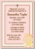 Angel Baby Girl Caucasian - Baptism / Christening Invitations