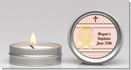 Angel Baby Girl Caucasian - Baptism / Christening Candle Favors