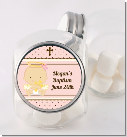 Angel Baby Girl Caucasian - Personalized Baptism / Christening Candy Jar