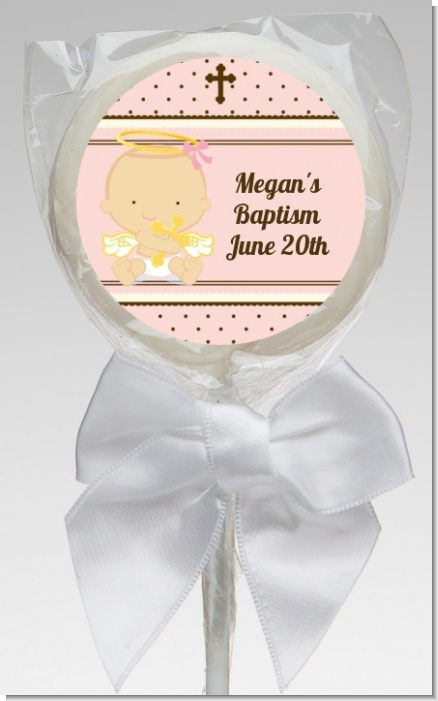 Angel Baby Girl Caucasian - Personalized Baptism / Christening Lollipop Favors